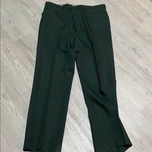 Vintage 1970s Men's Green Polyester Trousers Pants